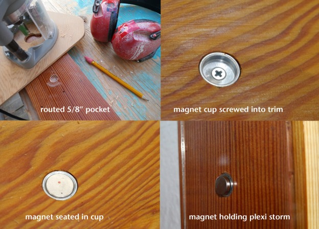 Magnet system for interior plexiglass storms.