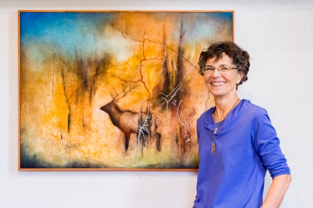 """Claire with """"Road to the Cariboo""""."""