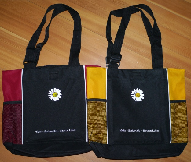 yellow & red daisy tote bags
